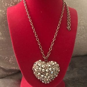 Jewelry - Gorgeous studded silver heart sweater necklace.